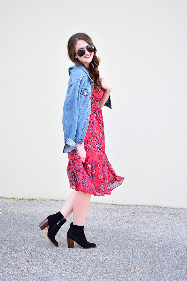 RED FLORAL TRANSITIONAL DRESS