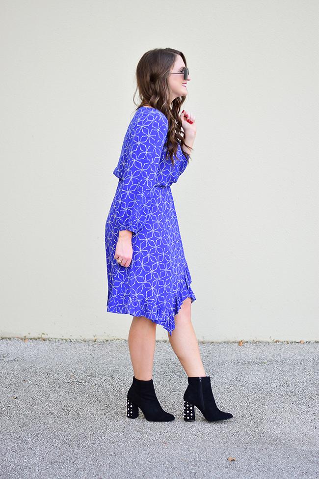 Feminine Long-Sleeve Ruffled Dress